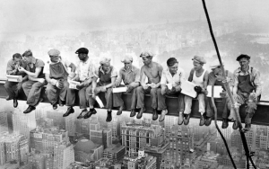 Construction Workers on a Cross-Bar