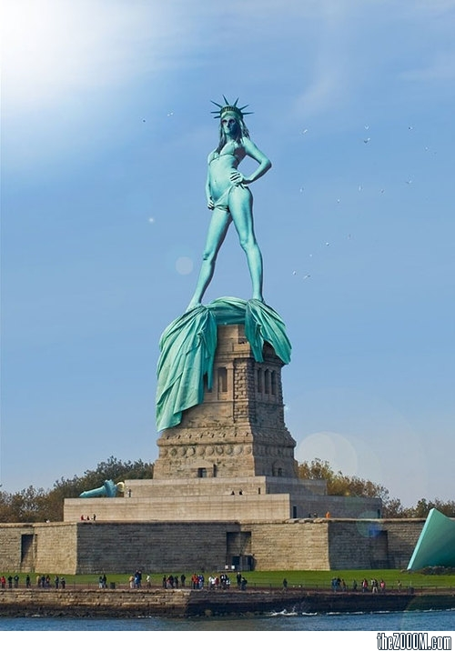 I found this image of a feminized and oversexualized Lady Liberty very  interesting. She has stripped off her robe and thrown down her tablet and  torch.